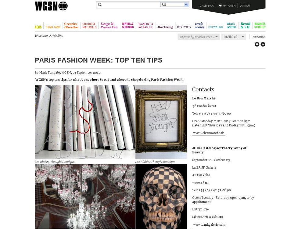 WGSN on Lee Klabin at Paris Fashion Week, October 2010